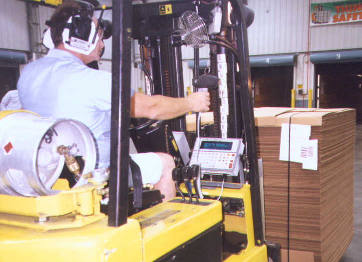 Fork Truck Equipped with R-F Tracking System